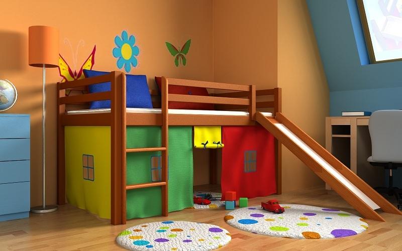 lit pour enfants toboggan mezzanine rideau matelas super ebay. Black Bedroom Furniture Sets. Home Design Ideas